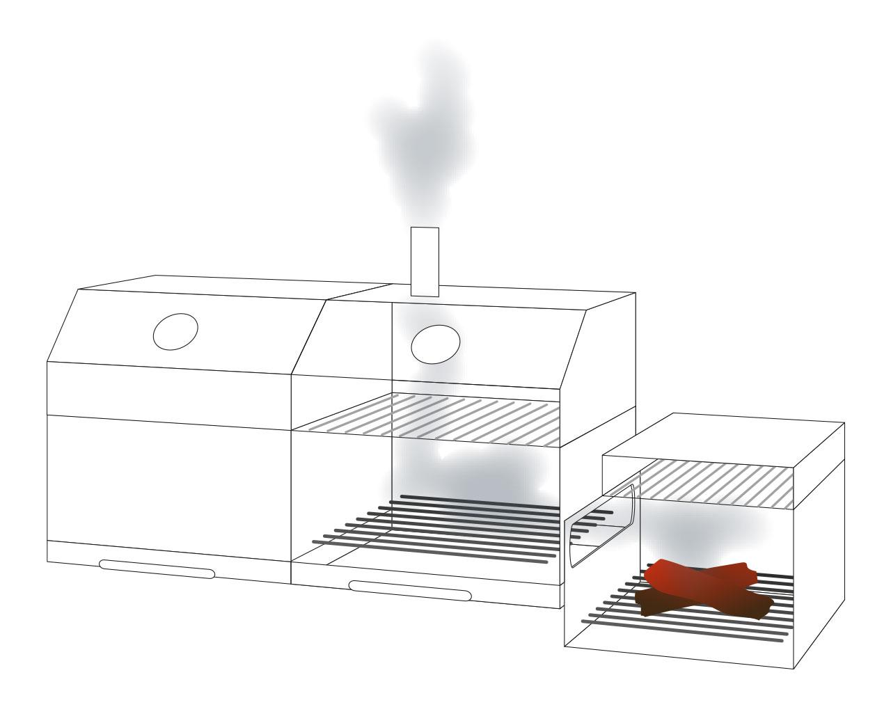 twin t 36 kombigrill von chef centre gmbh gas und holzkohlegrill mit smoker ebay. Black Bedroom Furniture Sets. Home Design Ideas